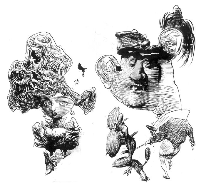 "Carlos Nine | ink drawing for the animation short ""Bu Bu"""