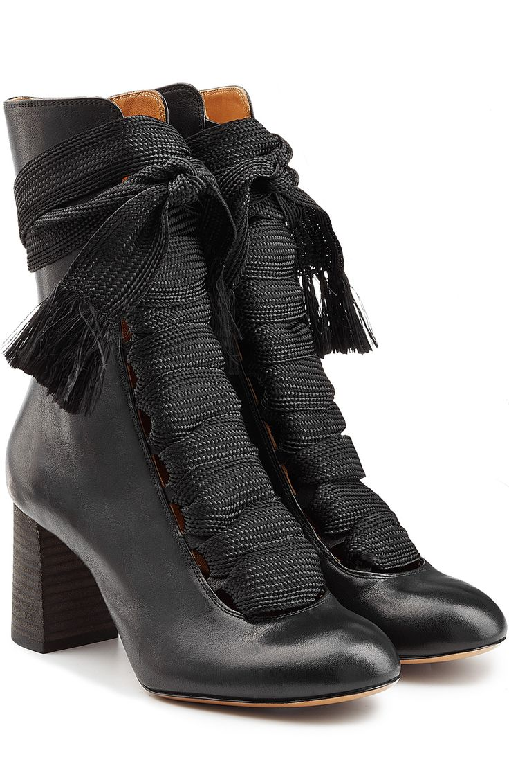 Chloe Lace Up Leather Ankle Boots