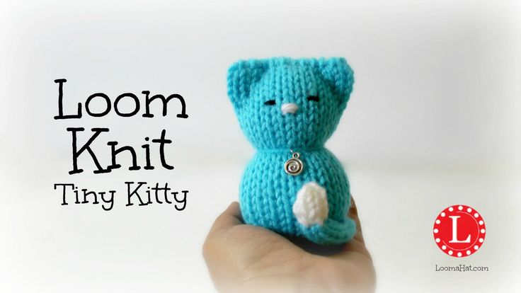 Loom knit a small stuffed kitten with a small circular loom. I used the 24-peg blue Knifty Knitter but any round loom 5 inches in diameter will work fine. Ea...