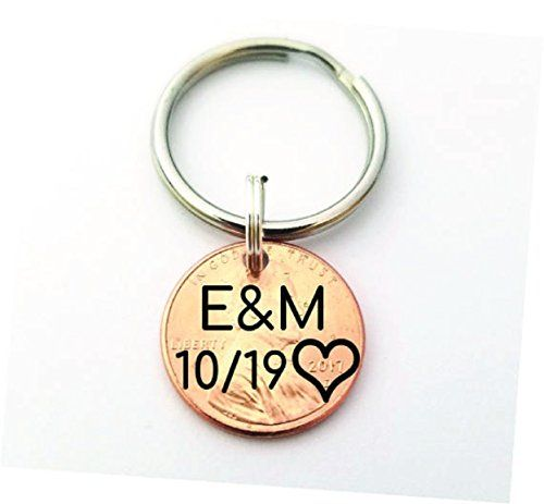 Anniversary Gift – Lucky Penny – Gift for Boyfriend – Custom Penny – Penny Keychain – 1st Anniversary – Custom Keychain – Personalized