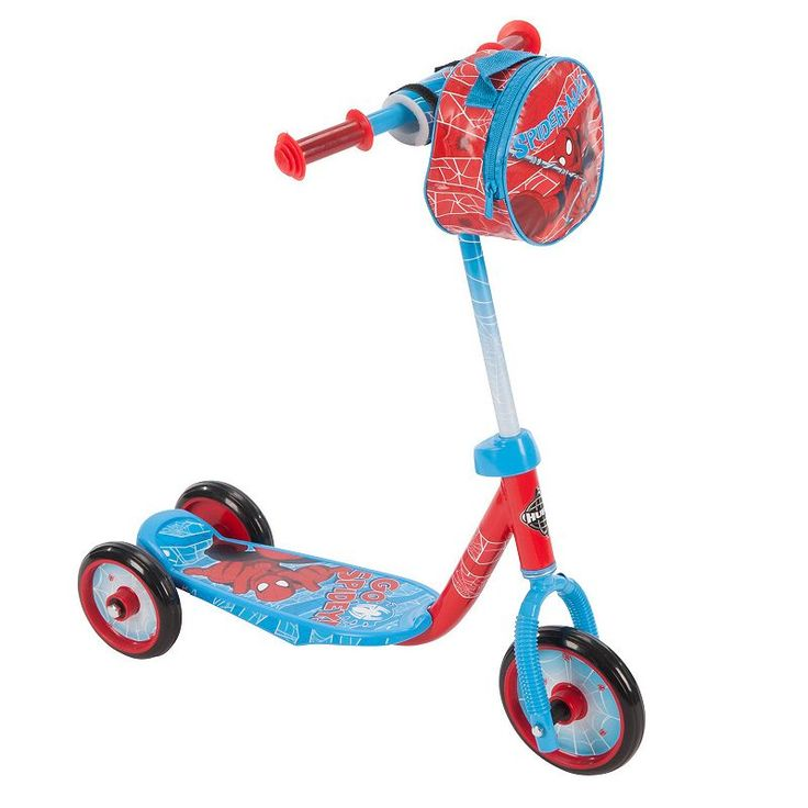 Youth Huffy Marvel Spider-Man 3-Wheel Scooter with Handlebar Bag, Blue