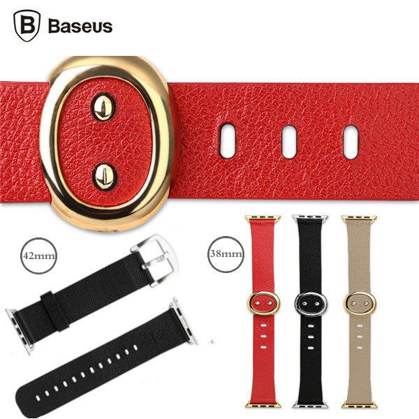BASEUS Stainless Steel Buckle Watchband Genuine Leather Straps Watch Band For Ap…