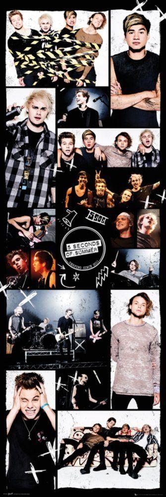 Amazon.com : 5 Seconds Of Summer Grid 2 Door Poster 21 x 62in : Sports &…