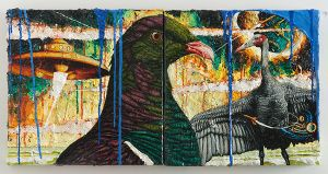 Geoff Dixon  Infrequent visitor 2  oil and acrylic on canvas  300 x 600 mm  2014