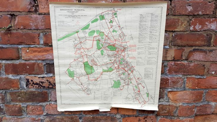 Vintage 1960's Birkenhead Municipal Transport Bus Route Map Wirral | eBay