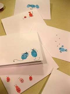 Finger print Thank you notes. I love this idea for involving the kids in their thank you cards per-writing.