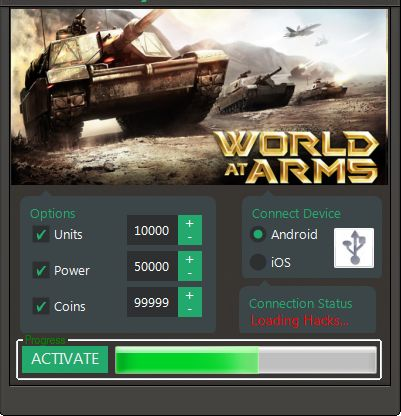 Details of World at Arms Hack Tool http://redappsworld.com/world-at-arms-hack/ - Made for: Android and iOS systems - Is it Auto Updated? YES - Is it Undetectable? YES - Does it contain Anti Ban Options? YES http://redappsworld.com/world-at-arms-hack/ Functions of World at Arms Hack Tool 1. Hack: Unlimited Coin Packs Adder 2. Hack: Unlimited Units Adder 3. Hack: Unlimited Power Adder 4. Extras Hack: Unlimited Gems Adder http://redappsworld.com/world-at-arms-hack/