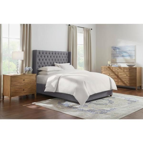 Home Decorators Collection Hillcott Charcoal Gray Upholstered King Bed With Tufted Back And Wingback Detail 85 In W X 61 8 In H 2436bkrc The Home Depot In 2020 Queen Upholstered Bed