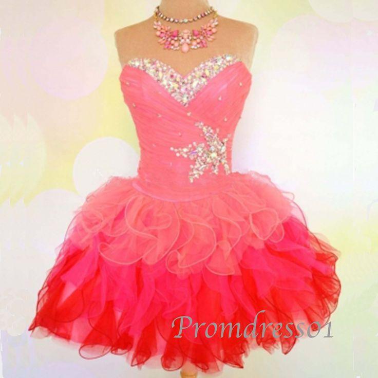 2015pink sweetheart strapless beaded organza short prom dress for teens, ball gown, evening dress,grad dress, bridesmaid dress #promdress #wedding #coniefox