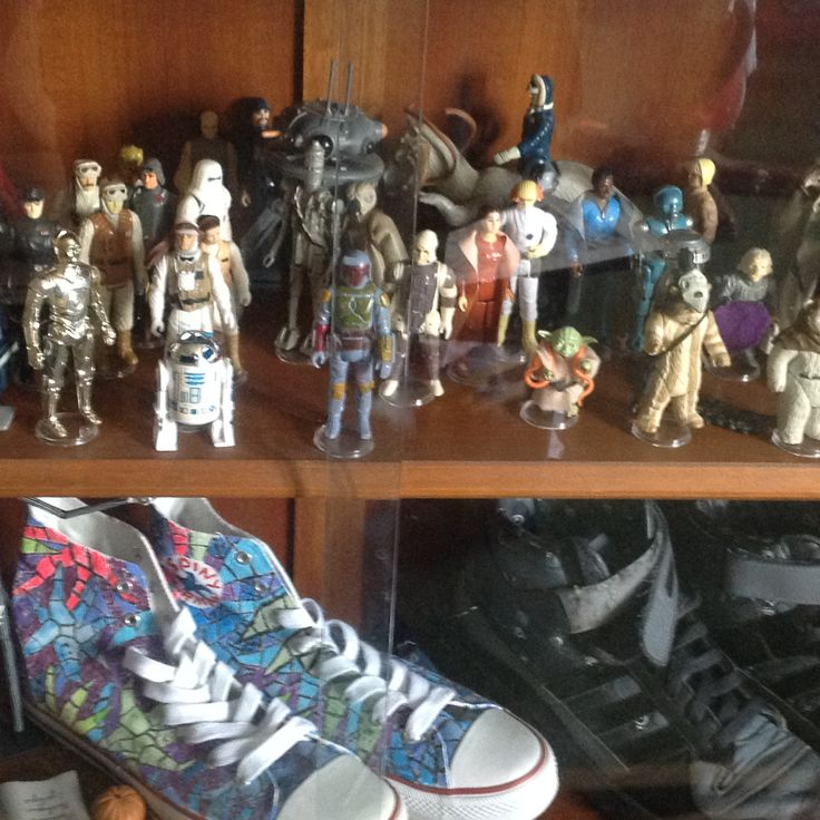 My childhood collection of Star Wars toys and dalek sneakers / trainers