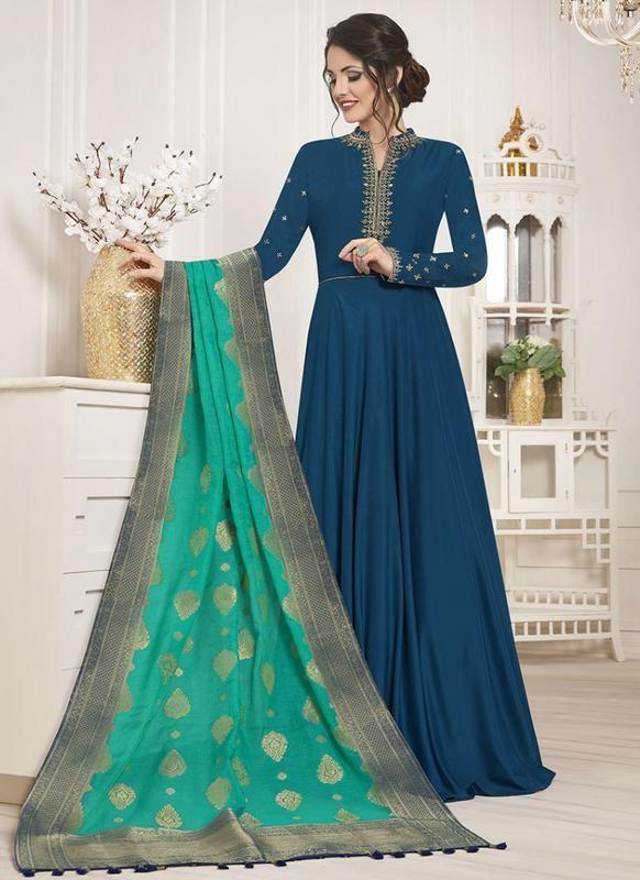 47ffd316e5 SareeBuzz Blue Silk Embroidered Work Designer Anarkali Salwar Kameez ...