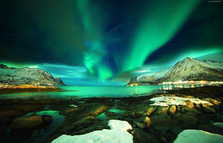 Zorza, Polarna, Góry, Jezioro, Zima