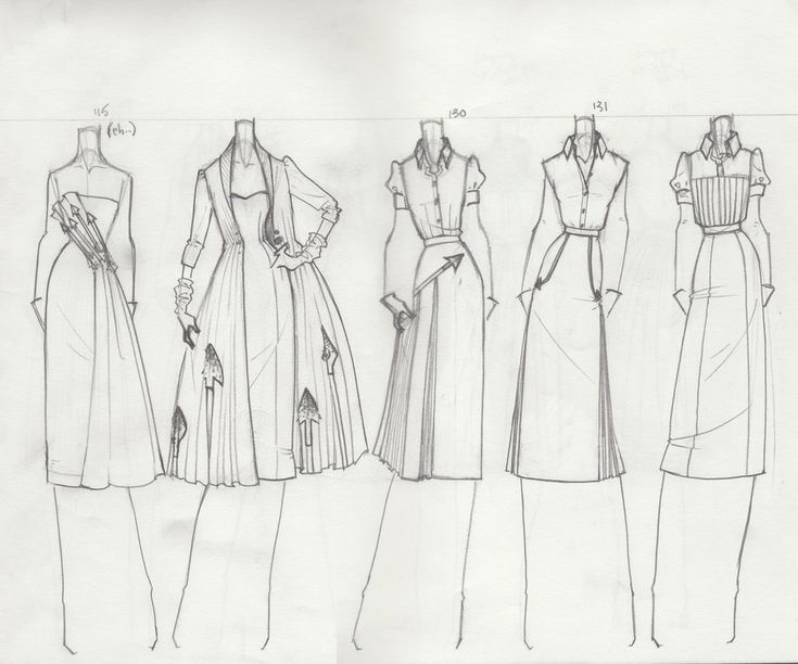 Fashion Sketchbook page - fashion design drawings; dress sketches; fashion portfolio // TheBocaj via deviantART