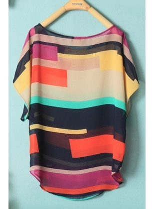 color block round neck short sleeve blouses
