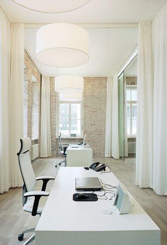 :: STUDIOS :: simple idea of using fabric panels to curtain off offices - martin-et-karczinski #studios #workplaces #interiors
