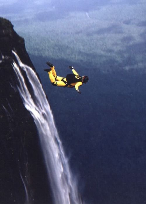 Base jump off Angel Falls, Venezuela
