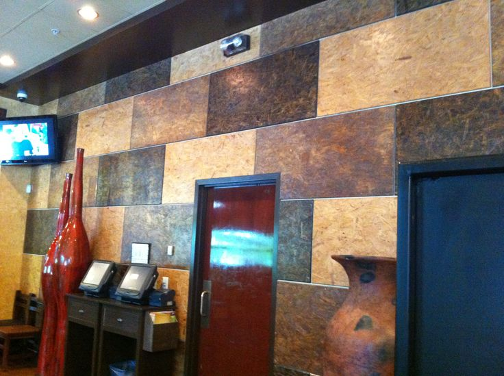 OSB, Stained and Cleared in different stain colors Wall behind is painted Silver