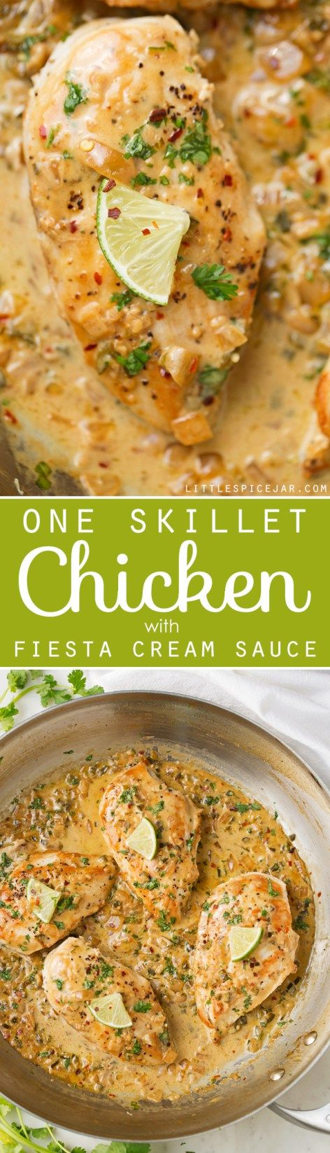 One Skillet Chicken with Fiesta Cream Sauce - a simple, 30 minutes, one skillet recipe topped with a cilantro, lime, jalapeño, and garlic flavored sauce. #oneskilletchicken #skilletchicken #chickendinner   Littlespicejar.com