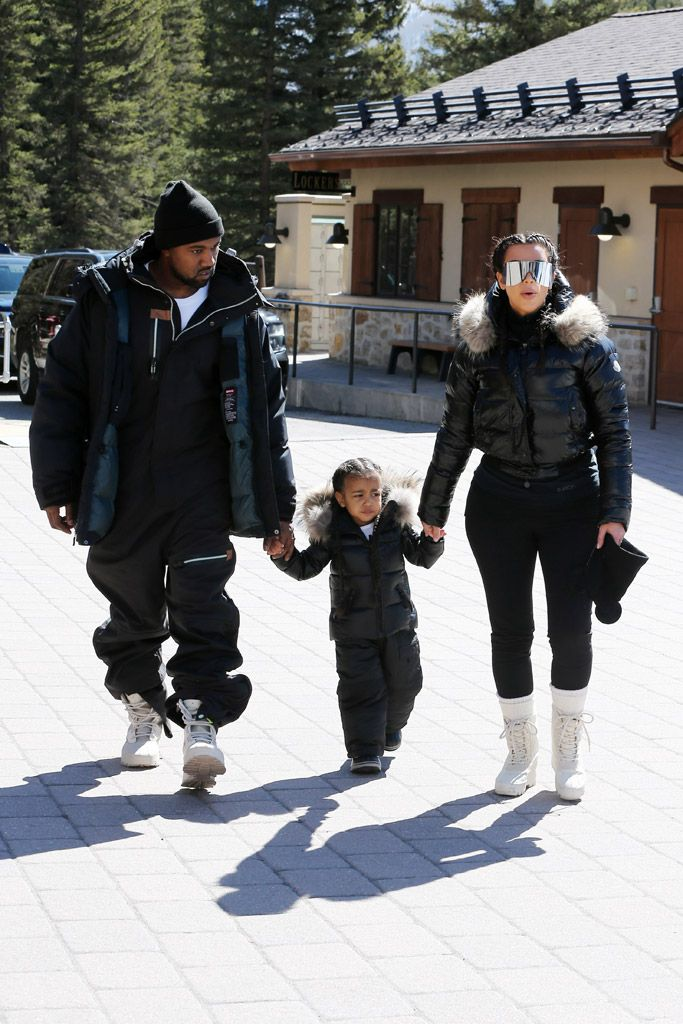 Kanye West Kim Kardashian Wear Matching Yeezy 950 Boots Footwear News Skiing Outfit Kim Kardashian And North Kardashian Winter Style