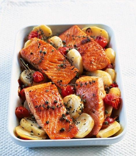 Mediterranean salmon...potatoes, garlic, capers, and tmatoes