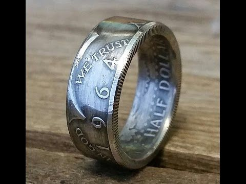How to make a silver 1964 JFK Kennedy half dollar double sided coin ring - YouTube