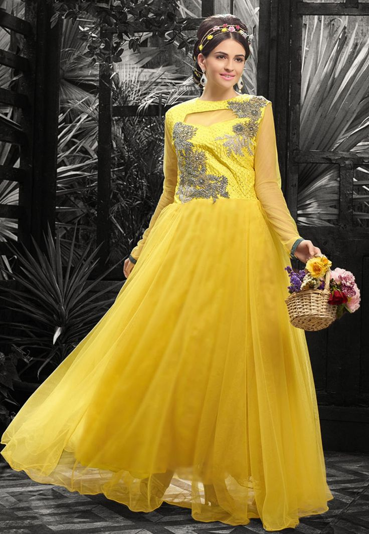 Yellow Net Semi Stitched Party Wear Gown
