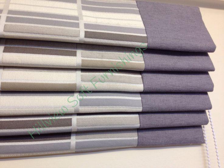 Cascade roman with grey linen side panels