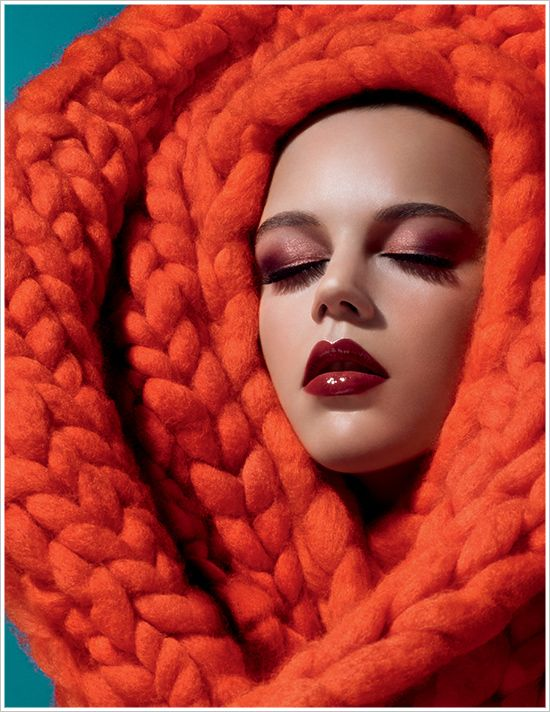 Love the makeup but that is one redonk cowl...thing.  #ridiculousknits - MAC Apres Chic Collection for Spring 2013