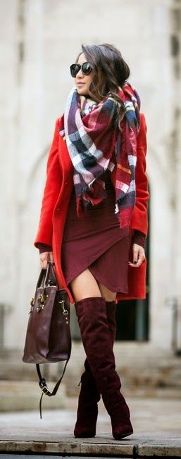 Red Crimson Coat & Burgundy Asymmetric Dress / Best LoLus Street Fashion.........  http://thingswomenwant.com/: