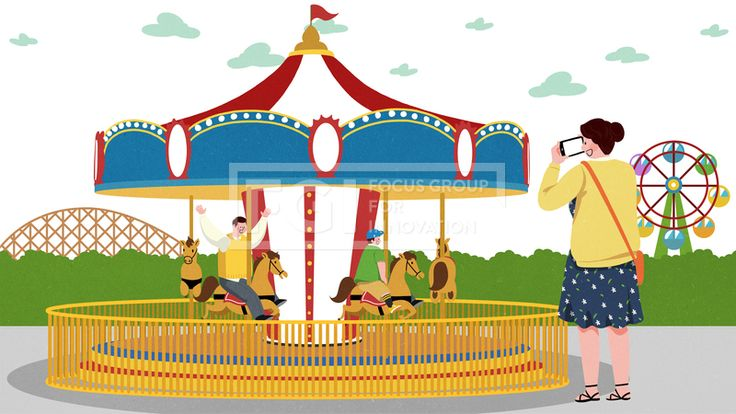 SPAI209, 프리진, 일러스트, 사람, 가족, 놀이공원, 유원지, 이벤트, 공원, 가정, 식구, 구성원, 그룹, 단체, 행복, 웃음, 미소, 놀이기구, 기구, 기계, 테마파크, 즐거움, 풍경, 어린이, 아이, 어른, 전신, 남자, 남성, 여자, 여성, 인물, 캐릭터, 청소년, 친구, 하늘, 구름, 신발, 그림자, 3인, 서있는, 앉아있는, 회전목마, 목마, 말, 지붕, 펜스, 만세, 울타리, 모자, 롤러코스터, 레일, 언덕, 관람차, 스마트폰, 핸드폰, 모바일, 카메라, 사진, 사진찍는, 가방, 조끼, 치마, 패턴, 꽃무늬, 풀, 식물, 부모, 어버이, 엄마, 아빠, 어머니, 아버지, #유토이미지
