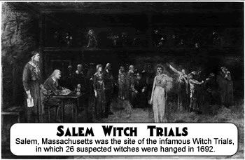 a history of salem witchcraft trials in colonial massachusetts The events which led to the witch trials actually occurred in what is now the town of danvers, then a parish of salem town, known as salem village launching.