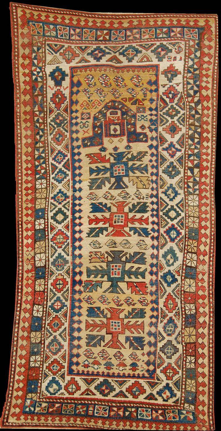Polonaise antique oriental rugs - Antique Kazak Prayer Rug In A Yellow Ground 1880s Kazak District