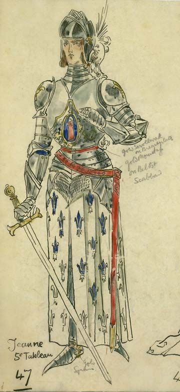 Joan of Arc Théâtre du Chatelet, Paris, 1891 Costumes designed by Charles Bianchini  Costumier's copy, after Charles Bianchini (1860-1905) Costume design for Joan of Arc, 1891 Sarah Bernhardt as Joan
