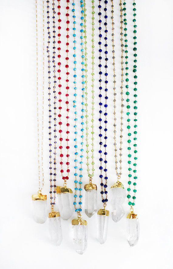 Crystal Quartz Wirewrapped Necklace di shopkei su Etsy, $84.00