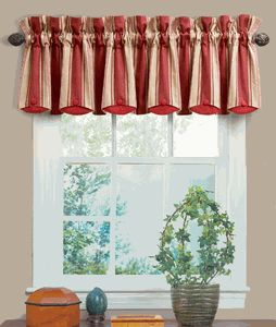 Yacht Club Stripe Crimson Chatham Valance by Waverly is a large scaled stripe of gold, beige & crimson, get the custom look at a discount price. #Waverly #Valance