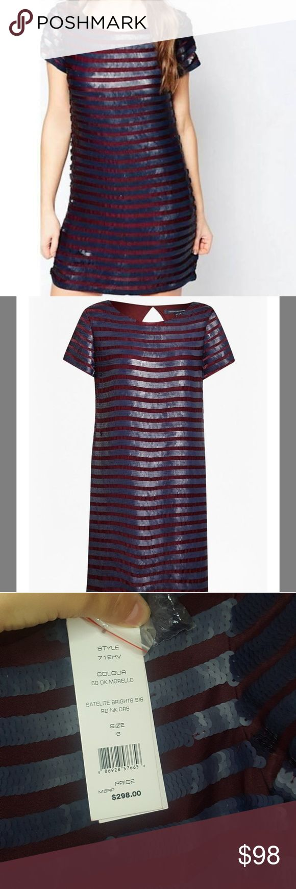 [French Connection] NWT Striped Sequin Dress Dress is a pretty burgundy purple color and sequined stripes are a gray blue color.   Open to offers! Bundle and save 20%! French Connection Dresses