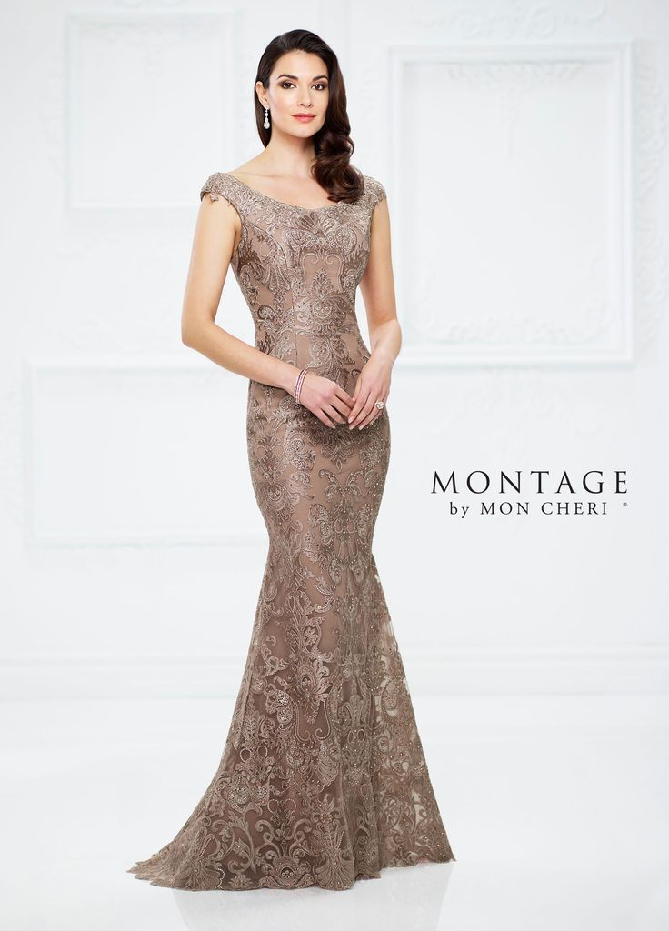 Metallic Lace and Tulle Fit and Flare Gown -Montag…