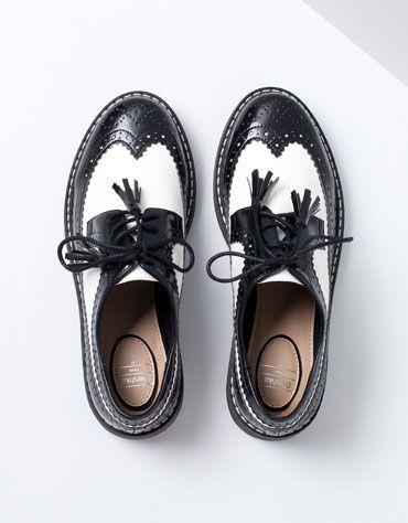 Bershka Bulgaria -Bershka stamped combined shoes