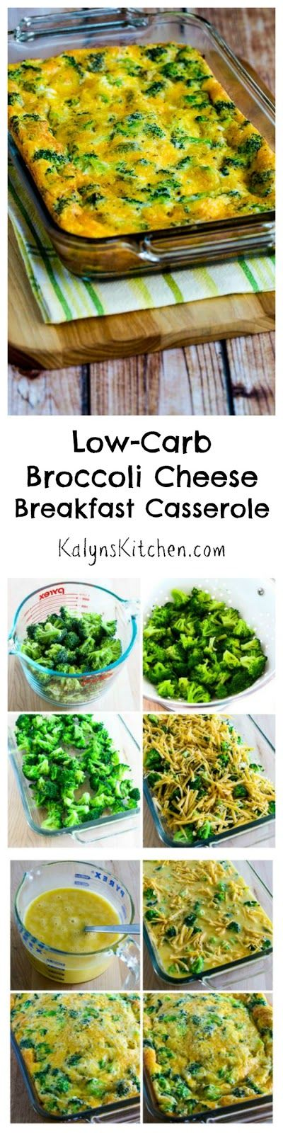 This easy and healthy Low-Carb Broccoli Cheese Breakfast Casserole is a recipe I make over and over; love having this in the fridge for a quick breakfast! (Gluten-Free, Meatless Monday) [from KalynsKitchen.com]