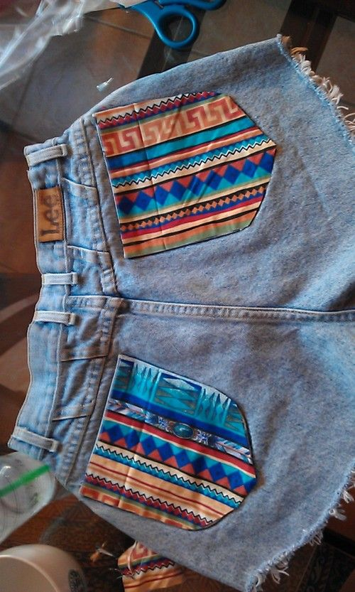 ...I have tribal fabric... and shorts that I can revamp. AW YEAAAAAAH!
