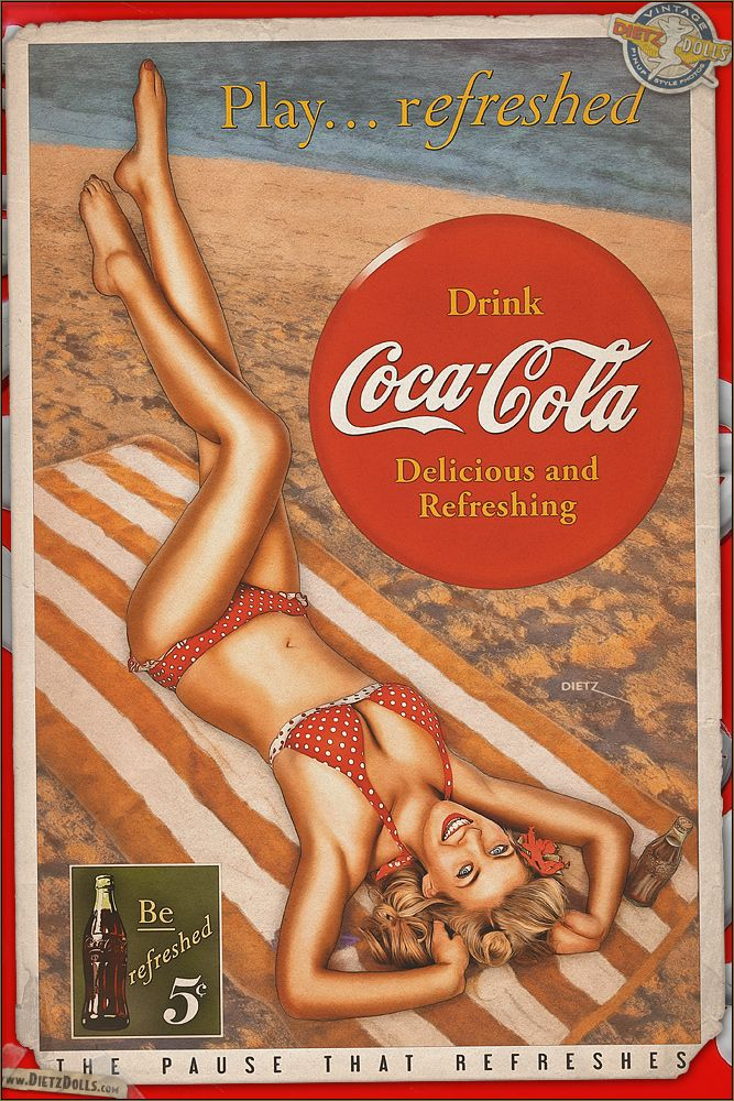Today's airbrushed style pinup photo features Brittany in this Coca Cola retro advertisement! During the 1940s, the key message Coca Cola tried to get across is to live your life, but take a moment to refresh yourself with Coke. From working in the factories for the war effort to every day leisure activities, having a Coca Cola will leave you better refreshed than you were. � Dietz Dolls: http://www.dietzdolls.com || Facebook: https://www.facebook.com/MomentsCapture