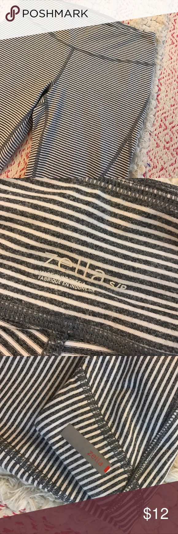 """Zella Capris! Here's a fun pair of Capris from Zella in a size small! Excellent like new condition! No stains, piling, or holes! Heathered gray color and cream stripes! :) perfect for the gym! :) inseam is approximately 16""""! Zella Pants"""