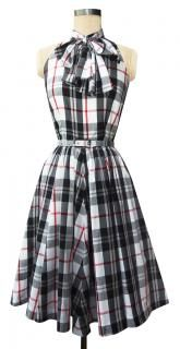 sexy teacher dress black white plaid knee length conservative dress bowtie neck retro style plaid trashy diva streetcar