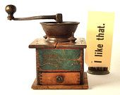 Waddel Coffee Grinder Koffee Krusher Rapid Double Grinders, Antique Coffee Box Mill, Farmhouse Kitchen Collectibles