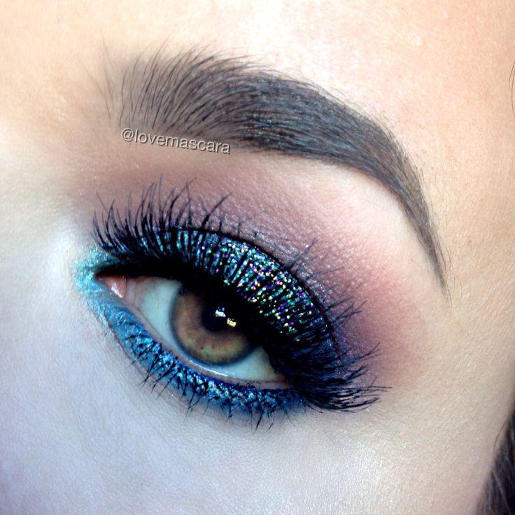 Makeup Geek Eyeshadows in Boo Berry, Corrupt, Curfew, Peach Smoothie, and Poolside + Makeup Geek Foiled Eyeshadow in Pegasus. Look by: Love and Mascara