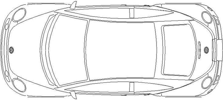 Coche. Vista en planta. Marca: Volkswagen, Modelo: New Beetle
