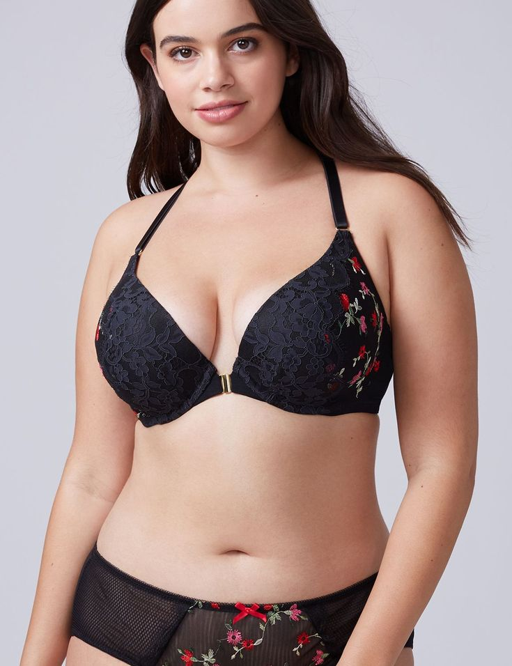 Embroidered Front-Close Boost Plunge Bra