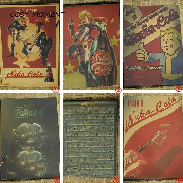 Home Adornment Retro Fallout 3 4 Poster Kraft Paper Game Poster Wall Stickers In 2020 Fallout Posters Poster Wall Vintage Posters