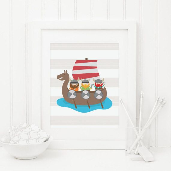 Nursery Viking Ship Printable Viking Nursery by MossAndTwigPrints