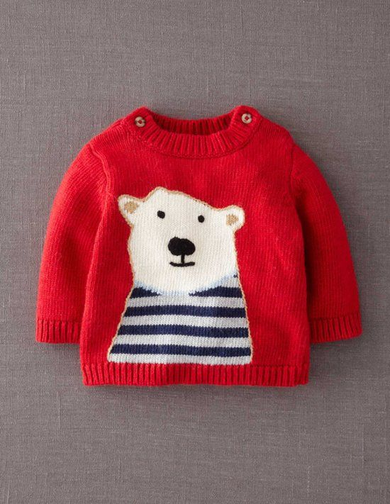 Mini Boden Polar Bear Sweater: Mini Boden's sweet polar bear sweater ($42) is also available in brown bear, penguin, and double-decker bus designs.